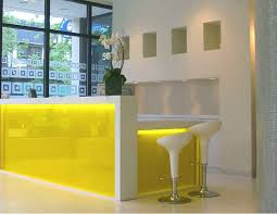 captivating white stained wooden frame black color furniture office counter design