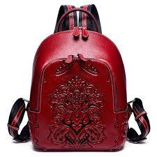 new <b>Genuine</b> Leather Women Backpack <b>High Quality Embossed</b> ...