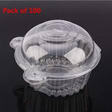 100Pcs Bulk <b>Disposable Clear Plastic</b> Cupcake Box with Lids, Snack