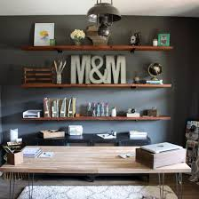install these diy industrial inspired wood shelves in your home office for a functional and rustic atlas chunky oak hidden home office