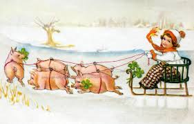 cabin decor lodge sled: new year card pigs pull sled in snow german holiday card