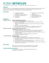 hvac and refrigeration resume sample hvac technician sample resume