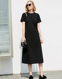 <b>Minimalist</b> Plain Black Printed T-Shirt <b>Dress</b>   <b>AMII</b>
