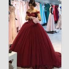 Robe De Soiree <b>2019</b> Burgundy Red <b>Puffy Prom</b> Dresses Ball ...