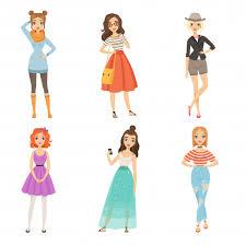 <b>Fashionable</b> girls. <b>cartoon</b> female <b>characters in</b> various <b>fashion</b> ...