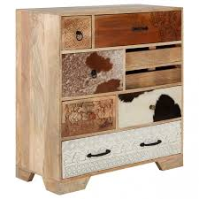 Mallani <b>Bohemian Mango</b> Wood Leather 8 Drawer Chest | Oak ...