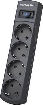 <b>Сетевой фильтр Pilot m-MAX</b>, 3 м, 4 розетки, серый