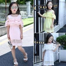 1PC Baby Girls Hollow Lace Flare Sleeve Princess Mini Dresses ...