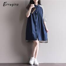 <b>Erregina</b> Striped Button Shirt Dress Turn Down Collar Beach Dress ...
