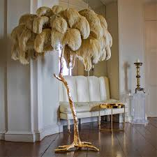 2019 <b>Nordic Copper Ostrich Feather</b> LED Floor Light Hair LED Floor ...