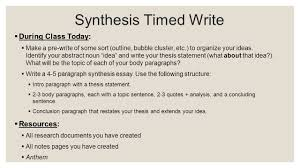 anthem synthesis timed write day research theme thesis 8 synthesis