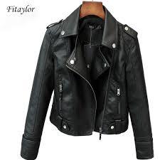 Fitaylor New Spring Autumn <b>Women Short Faux</b> PU Jacket Slim ...