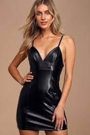 <b>Sexy</b> Black Dress - Vegan <b>Leather Mini</b> Dress - Bodycon Dress