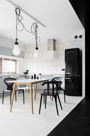 amusing dining room using white dining table with wooden legs and black chair for apartment interior amusing white room