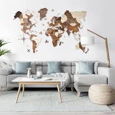 <b>Деревянная карта мира</b> на стену | 3D - EnjoythewoodEstonia
