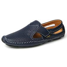 <b>Men</b> Sandals Summer Casual Leather <b>Flat Shoes Soft</b> Comfortable ...