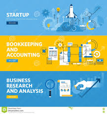 set of flat line design web banners for company startup finance set of flat line design web banners for company startup finance bookkeeping and accounting