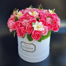 <b>Букет</b> из мыльных роз в шляпной коробке - Forever-Flower