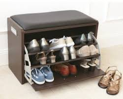 brown color small wood shoe holder bench with drawer shoe storage and black leather black color shoe rack storage sliding