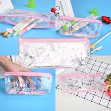 Creative <b>Pencil Case Transparent</b> Sequins <b>Quicksand</b> Oil Stationery ...