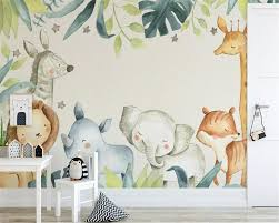 <b>beibehang Custom wallpaper</b> modern cartoon animal tropical giraffe ...