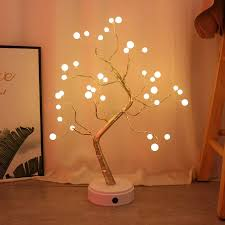 3D <b>LED Branch Lamp</b> Christmas Fire Tree Light Indoor Home Room ...