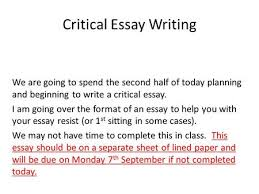to recognise how setting is used  to structure a critical essay  critical essay writing we are going to spend the second half of today planning and beginning
