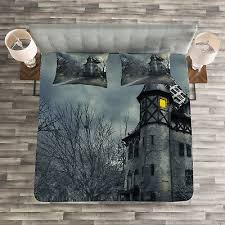 <b>Gothic</b> Haunted House <b>Print Halloween</b> Quilted Bedspread & Pillow ...