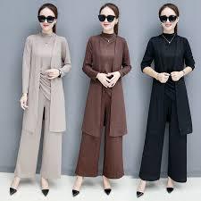 <b>3 Piece Set Women</b> Vest + Long Cardigan coat + Wide leg pants ...