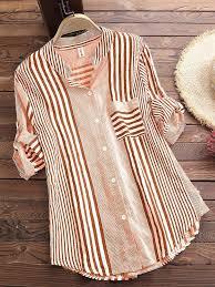 Patchwork <b>Stripe Print</b> Stand Collar <b>Irregular</b> Casual Shirts | Clothing ...