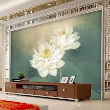 Large <b>Custom Wall Mural Wallpaper</b> Lotus Painting Living - Lotus ...