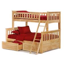 wooden bunk bed in cream finish with double drawers and ladder using dark red bedding set brilliant log wood bedroom