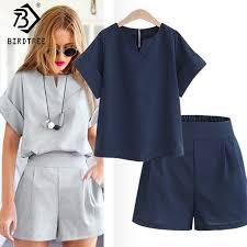 Casual Cotton Linen <b>Two</b> Piece <b>Sets Women Summer</b> V Neck Short ...