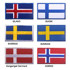 Flag Patch 1 <b>Iceland</b> Norway <b>Sweden</b> Denmark <b>Finnish</b> Flag ...