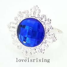 <b>50pcs</b>/<b>lot</b> Royal Blue Gem Silver Plated <b>Napkin Rings</b> Wedding
