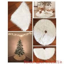 90cm <b>Christmas Tree</b> Long Snow <b>Plush Skirt</b> Base Floor Mat Cover ...