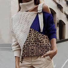 WENYUJH Leopard Patchwork Turtleneck Sweater <b>Women</b> Sexy Off ...