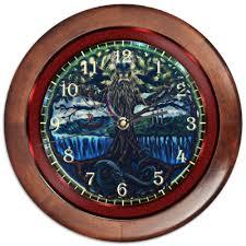 Часы круглые из дерева Эмблема Мидгарда #1999546 от Axis