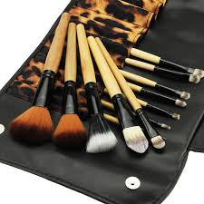 new 12pcs professional makeup brush set cosmetic brush eyebrow pencil lip liner leopard with holder bag
