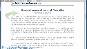 sample general affidavit form sample general affidavit form