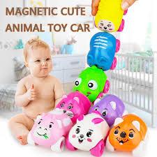 Toy car <b>Cute Cartoon</b> Animal 8 style <b>Push Pull</b> Trolley Magnetic ...