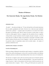 maxims of politeness essay modesty