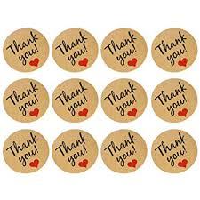 Gemini_mall® Round Natural Kraft <b>Thank You</b> Sealing Stickers ...