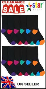 <b>12 Pairs</b> pack <b>Ladies</b> Socks black color Toe and Hell <b>Cotton</b> UK size ...