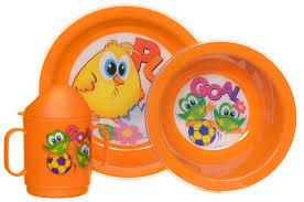 <b>Cosmoplast Набор</b> детской <b>посуды</b> Baby Tris Set Цыпленок 3 ...