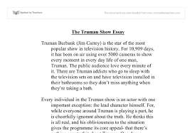 the truman show essays  wwwgxartorg the truman show essay university media studies marked by document image preview