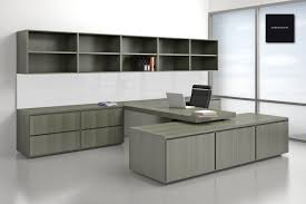 m u shaped gray stained wooden office desk with cabinet storage combined with rectangle floating wall shelves beautiful office furniture cool office furniture