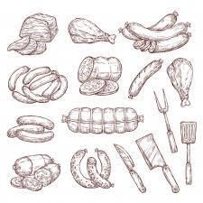 Мясные колбаски, ветчина, салями и <b>нож</b> для мясника | Премиум ...