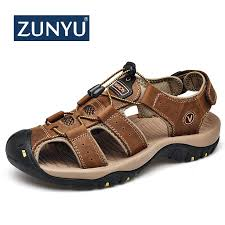 ZUNYU 2019 <b>New Male</b> Shoes Genuine Leather <b>Men Sandals</b> ...