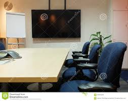 room ergonomic furniture chairs: the empty meeting room with conference table fabric ergonomic chairs blank screen and blank